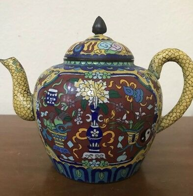 ANTIQUE Chinese Cloisonné Yellow Wine Tea Pot Flagon MARKED