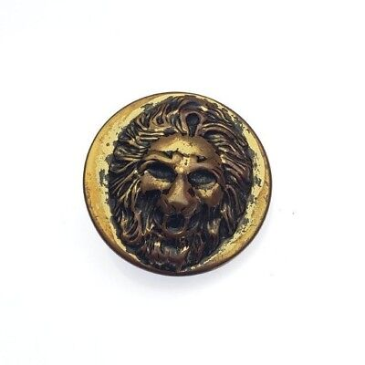 Lovely Antique Picture Button 3D Roaring Lion Head