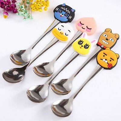 2X Cartoon Stainless Steel Coffee Tea Spoon Kids Baby Tableware Creative Modern