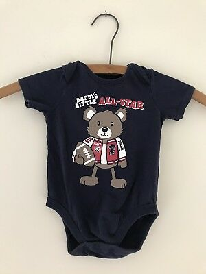 """EUC The Childrens Place Navy Infant Shirt """"Daddy's Little All-Star"""" Size 3-6 Mo."""