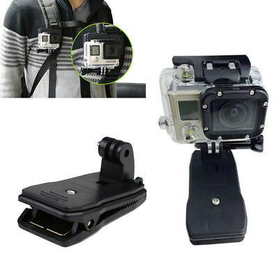 360 Rotary Backpack Hat Belt Mount Clamp Clip For Gopro Hero2 3+ 4 S Camera