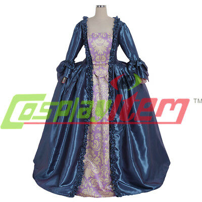 18th Century Marie Antoinette Colonial blue ball Gown sack back Dress Costume