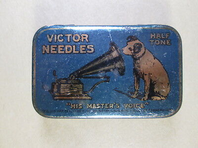Victor Phonograph Needles Tin, Blue Box w/ Nipper - His Master's Voice