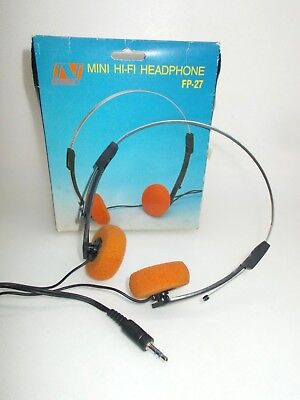 Vintage CLASSIC WALKMAN HEADPHONES w box 1980's f personal cassette player