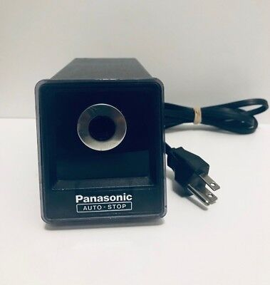 Panasonic Electric Pencil Sharpener KP-77 Auto-Stop Black Japan TESTED