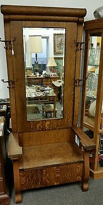Antique Coat Tree Rack Stand with Chest