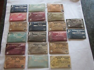 Vintage Lot Of 20 Advertising Putnam Fadeless Dye Packets