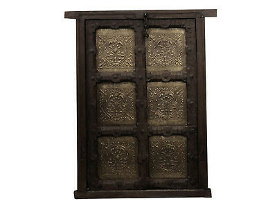 Antique Indian Door Hand Carved Brass Jharokha Rustic Teak Window Terrace Door
