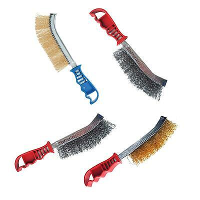 Wire Brush Set Of 2 Brass & Steel - Light & Heavy Duty Cleaning Rust Remover