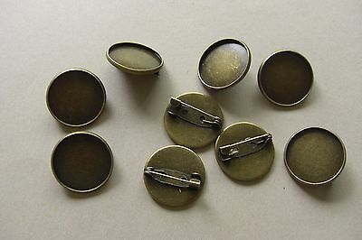 20 ANTIQUE BRONZE TONE ROUND CABOCHON SETTING PIN BROOCHES -  Fits 20mm DIAMETER