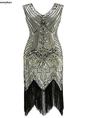 Women 1920's Vintage Style Print Sequin Sleeveless V Neck Flapper Party RR3 01