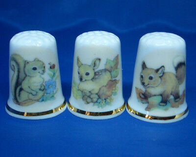 Fine Porcelain China Thimbles - Set Of Three Forest Friends