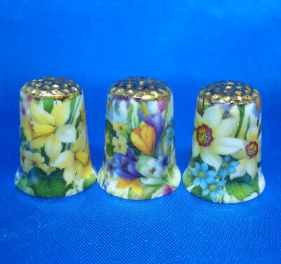 Fine Porcelain China Thimbles - Set Of Three  Spring Flowers Gold Top