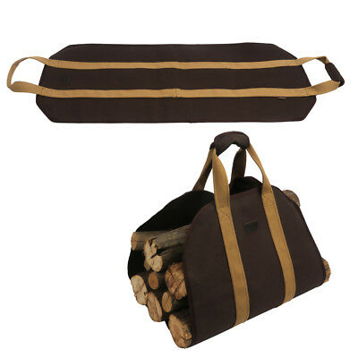 Tourbon Strong Canvas Firewood Carrier Fireplace Log Holder Tote Carry Portable