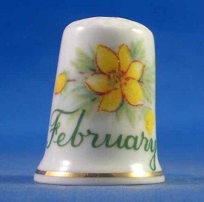 Fine Porcelain China Thimble - Flower Of The Month -- February - Free Gift Box