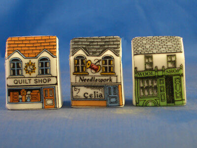 Fine China Thimbles - Set Of Three Miniature House Style -  Quilting