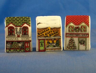 Fine China Thimbles - Set Of Three Miniature House Style -  Christmas Shops