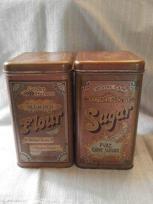 Golden Harvest Bleached Flour And Sugar Cane Tin dated 1978 Cheinco Housewares