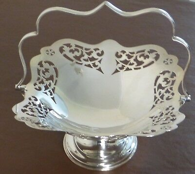 Vintage Silver Plate Swing Handle Pedestal Dish by W & GS