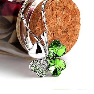Four Leaf Clover Silver Pendant Necklace Lucky Irish  Patricks Day Gift Crystal