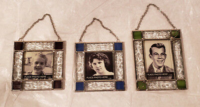 SET OF 3 Family Tree Hallmark Ornaments Stained Glass retired photo holder