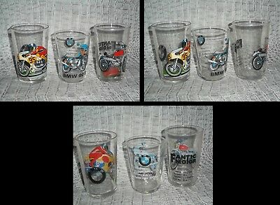 1Joli Lot de 3 Verres de Collection/Moto Caballero & BMW/Ht:10/8,5cm