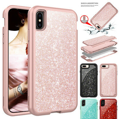 Bling Glitter Sparkle Full Shockproof Case Cover for iPhone XS Max XR X 7 8 Plus