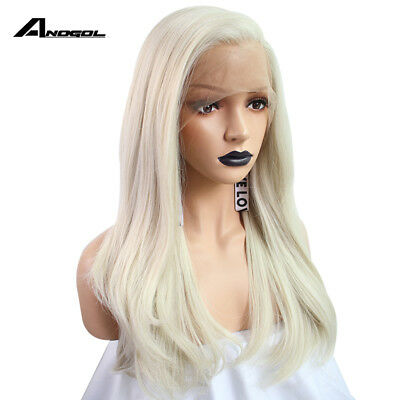 Anogol Synthetic Lace Front Wig Bleach Blonde Natural Long Remy Hair Straight