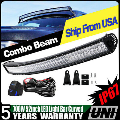 """Offroad 700W 52"""" LED Light Bar Curved Flood Spot KIT Truck Roof Driving 4WD 50"""""""