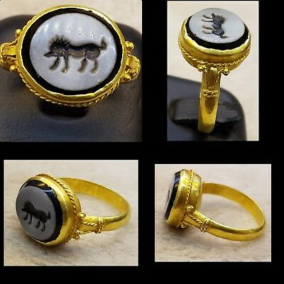 20k Gold Rare Found Roman Ancient Ring With Old Agate Stone Cow Intaglio  #C6