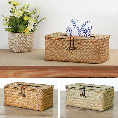 Bathroom Accessory Tissue Box, Algae Rattan Manual Woven Toilet Livingroom Decor