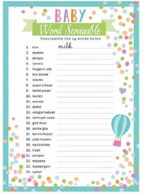 ** Baby Shower Word Games 24 Sheets Scramble Search Gender Party Reveal Boy Girl