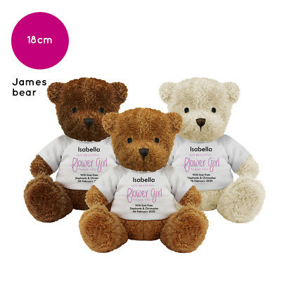Personalised Name Wedding Soft Toy James Teddy Bear Gift Favour Bride Flowergirl