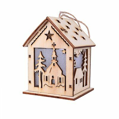 Santa Claus colorful glowing small house cabin Christmas gift tree decoration  K