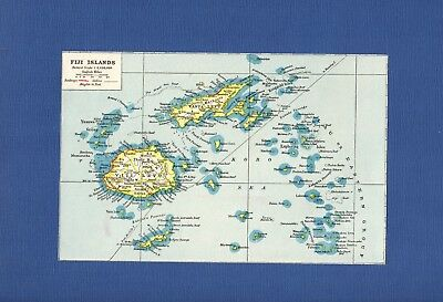 Antique MAP ~ THE FIJI ISLANDS ~ 1920 NINETY+ Years Old