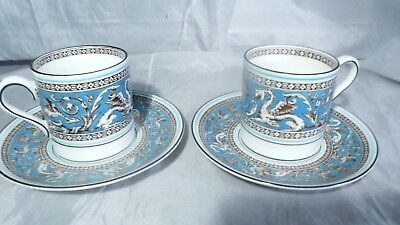 2 Wedgwood Turquoise Florentine Fruit Center Demitasse Cups Coupe Saucers W2714