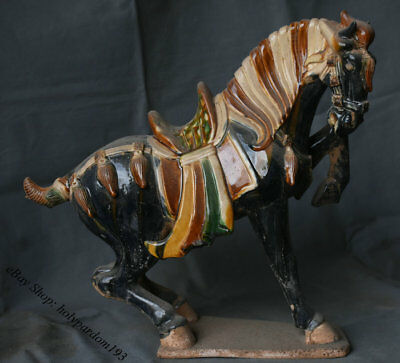 "16"" Chinese Old Antique Tang Sancai Porcelain Pottery Horse Success Sculpture"