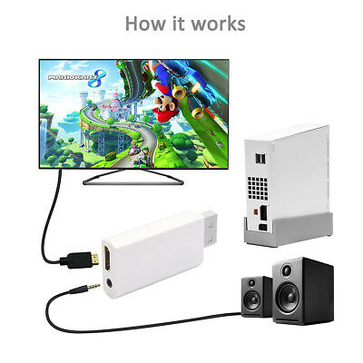 Wii Input to HDMI 1080P HD Output Converter Adapter Cable 3.5mm Jack White UK