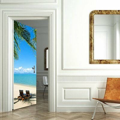 Door Sticker Decal Wall Stickers Home Decoration PVC Beach Waterproof KQ