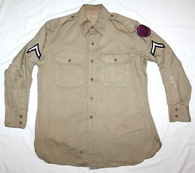Original Post Wwii Khaki Cotton Field Shirt W/ Wwii Pfc Chevrons & Corps Patch