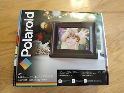 "Polaroid 8"" Digital Picture Frame PDF-800EB Express Finish Wood Frame - NIB"