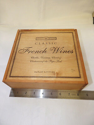 "'Classic French wines' wooden box (8 1/2"" X 8"" X 2 1/2"")"