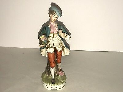 """Capodimonte Man Carrying Flowers Vintage Figurine - Crown With N Mark - 8"""" tall"""