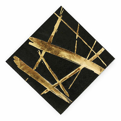 Napkins Gold Stroke Black Premium Paper Small Pack of 20