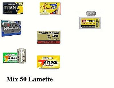 Mix 50 Lamette Da Barba Feather, Dorco, Permashap, Shark - Double Edge Blades