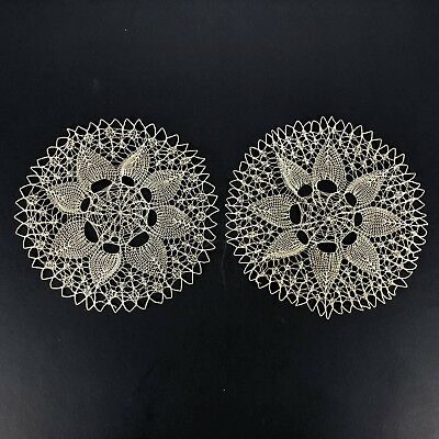 """Pretty Vintage 8"""" Lace Doily Intricate Set 2 Cottage Victorian Style Delicate"""
