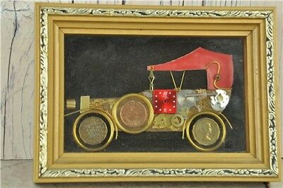 """Burgess Galleries Car Made From Clock Pieces & Coins Framed 7"""" x 5"""""""