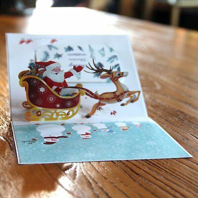 3D Pop Up Christmas Card Holiday Postcards for Merry Christmas er Car Card KQ