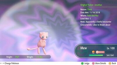 Pokemon Let's Go Mew 6 IV / Max AV [FAST DELIVERY] Original Owner