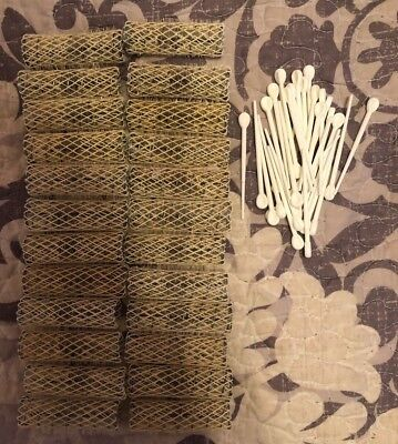 Lot of 24 Old Style Vintage Brush Spring Mesh Hair Curlers Rollers